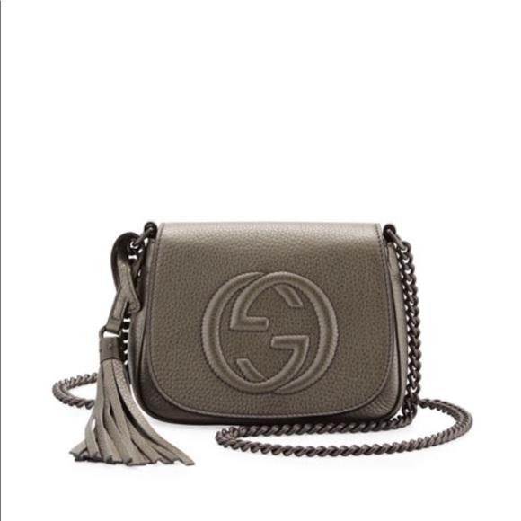 bd3af447457 Gucci Handbags - Gucci Soho Metallic leather chain crossbody